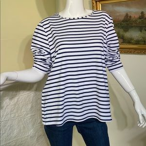 Land's End Blue/White Striped Boat Neck Tunic Top